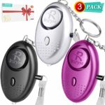 Personal Alarms For Women - 3 Pack Reusable Police Approved 140DB LOUD Security Alarms Keychain with LED Light