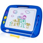 SGILE Large Magnetic Drawing Board - 4 Colors 41.5×32.5cm Doodle Pad with Stamps