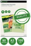Leitz 33819 Laminating Pouches Made of 80 Micron Thick Material (Transparent