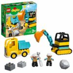 LEGO 10931 DUPLO Truck & Tracked Excavator Construction Vehicle Toy Set for Toddlers 2+ Years Old