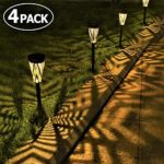 Solar Lights Garden Outdoor Metall Wrought Iron Solar Powered Stake Post Lamp Pathway Outside Landscape Waterproof LED Effect Decoration Warm Light for Patio Lawn Backyard Paths Walkways-4 Pack