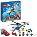 LEGO City 60243 Police Helicopter Chase Toy with ATV Quad Bike