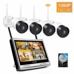 """Jennov All-in-One Wireless Security Camera System with 12""""LCD Monitor NVR Kits"""