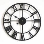 October Elf Silent Vintage Roman Numerals Wall Clock Non Ticking Metal Skeleton Clock 40cm Living Room Cafe Hotel Office Home Decor Gift (Black)