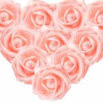 MEJOSER 50Pcs Foam Roses Flower Heads Artificial Rose Flowers Head Real Looking Fake Roses for DIY Wedding Bouquets Centerpieces Arrangements Party Home Table Decor (Champagne Pink)
