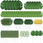 Auihiay 70 Pieces 10 Kinds Artificial Palm Leaves Tropical Leaves Decorations for Jungle Party Decorations Beach Birthday Luau Hawaiian Party Decorations