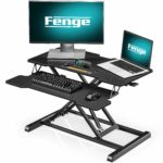 Fenge Standing Desk Converter Height Adjustable Ergonomic Black with Keyboard Tray Office Workstation for PC Computer Screen Laptop SD315001WB