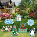 Sayala 7pcs Christmas Yard Sign with Stakes Christmas Holiday Decorations Winter Yard Decorations Corrugate Outdoor Lawn Decorations