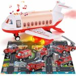 TEMI Transport Plane with 6 Mini Diecast Fire Fighting Trucks and Playmat for Kids 3-6 Years Old