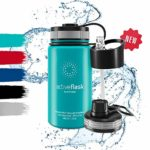 Stainless Steel Water Bottle + Straw (3 Lids) - Leak-Proof & BPA-free | Vacuum Insulated ACTIVE FLASK Drinking Bottles - 24h Cold / 12h Hot