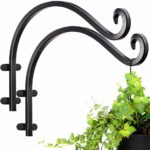Hanging Basket Brackets Jiayi Heavy Duty Plant Hooks 2 Pack 12 inch Hand Forged Metal Outdoor Garden Wall Plant Hanger Bracket for Lanterns Wrought Iron Bracket for Planter Flower Fence Hanger