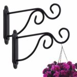 Birdream Hanging Basket Brackets 2 Pack Plant Hook Black Metal Outdoor Garden Decor Wall Hooks Wrought Iron Heavy Duty for Lanterns Plants Hanger Bird Feeder Wind Chimes Fence 18X12CM (with Screws): Amazon.co.uk: Garden & Outdoors