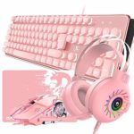Wired Pink 4-in-1Gaming Keyboard Mouse Combo Set 104: Amazon.co.uk: Electronics