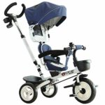HOMCOM 4-in-1 Baby Tricycle Stroller Kids Folding Trike Detachable Canopy Pushing Handle Learning Bike Ride On Blue