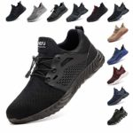 Safety Shoes for Men Steel Toe Cap Trainers Womens Lightweight Work Boots Mesh Breathable Construction Industrial Sneakers Black Blue Grey Green Pink Size 3.5-13 UK (36-48 EU)
