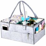 SA Products Nappy Caddy Organiser - Large Diaper Tote Storage Bag with Handle - Adjustable Dividers & Compartments - Portable & Light Nursery Basket for Changing