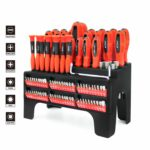 100-Piece Magnetic Screwdriver and Bits Set with Organizer Racking
