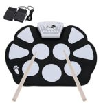 ammoon Portable Drum Electronic Roll up Drum Pad Kit Silicon Foldable with Stick Record Function Professional
