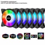 upHere 5V PWM ARGB LED 120mm Case Fan For PC Cooling super Silent 5V 6 Pack-Supports ASUS Aura Sync/GIGABYTE ARGB Fusion/MSI Mystic Light Sync/AsRock Polychrome Sync-T7SYC7-6