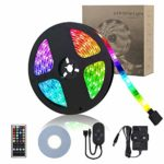 LED Strip Lights 10m Masqudo Music RGB 5050 Multicolour LED Lighting Strips with Remote Controller Non-Waterproof Strip Lights with 12V Power Supply for Home Indoor Party Bar Decoration