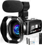 Camcorder Video Camera Ultra HD 4K Camcorder Full HD 48.0 MP WiFi IR Night Vision Camera Vlogging Camera with Microphone and Lens Hood