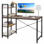Computer Desk with Storage Shelves Office Desk with Bookshelf Notebook PC Laptop Desk Gaming Desk Study Writing Table Workstation for Home & Office (Rustic)