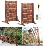 Nisorpa 2 x Expanding Trellis Fence 70cm Height Freestanding Wooden Garden Screen Retractable Fence Panel(24-130 cm) for Plant Pet Dog Safety Fence