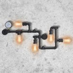 Industrial Vintage Wall Lights Fitting Retro Metal Lamp Rustic Water Pipe Wall Sconces Fixture for Home Decor Pub Cafe Hotel Steampunk Style Decoration with Copper Finish(Black)            [Energy Class A++]