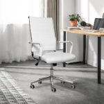 eclife Ergonomic Office Chair Ribbed Leather Swivel - Adjustable Height Tilt Arm Sleeves Lumbar Support High Back Upholstery Executive Modern Conference Computer Chrome Wheel Caster (White0)