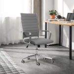 eclife Ergonomic Office Chair Ribbed Leather Swivel - Adjustable Height Tilt Arm Sleeves Lumbar Support High Back Upholstery Executive Modern Conference Computer Chrome Wheel Caster (Gray0)
