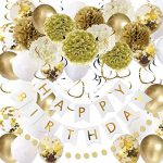 Gold and White Birthday Party Decorations Set