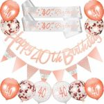 30 Pieces 30th/ 40th/ 18th Birthday Decoration Kit Rose Gold Includes Happy Birthday Banner Triangle Flag