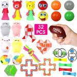 Sensory Fidget Toys Set 32 PCS Sensory Toys for kids Adults Stress Relief Toys for Focus Calm Birthday Party Gifts School Classroom Rewards Carnival for ADHD Autism Squeeze Toys Fidget & Finger Toys