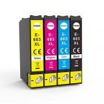 Lessint INK-TANK 603XL Ink Cartridges Most Preferred Replaceable Compatible Cartridges for Epson XP-2100 XP-2105/ XP-3100/ XP-3105/ XP-4100/ XP-4105/ WF-2810/ WF-2830/ WF-2835/ WF-2850 – Full Set
