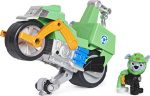 PAW Patrol Moto Pups Rocky's Deluxe Pull Back Motorcycle Vehicle with Wheelie Feature and Figure
