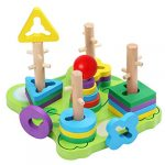 BELLE VOUS Wooden Frog Shape Sorter Stacking Puzzle Toy (23 Pieces) - Educational Geometric Sorting Stacker Blocks for Toddler/Preschool/Baby Kids - Developmental Early Learning & Colour Recognition