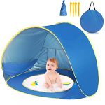 Pop Up Baby Beach Tent Automatic with Baby Pool Portable Lightweight UV Protection Sun Shade Shelter Garden for Family Picnic Indoor and Outdoor Use