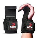 DMoose Fitness Weight Lifting Hooks Grip- Non-Slip Rubber Coating