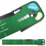Champkey PUTTECH PRO Golf Putting Mat - Adjustable Hole & Automatic Ball Return Golf Putting Green - Alignment & Distance Training Mat Gift for Home