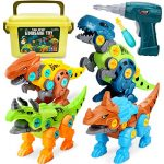 Dreamon Take Apart Dinosaur Toys for Kids with Storage Box Electric Drill