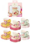 Talking Tables Pack of 24 Vintage Floral Cup & Saucer Afternoon Tea Set | Truly Scrumptious Disposable Tableware for Birthday or Garden Party