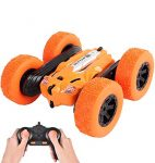 LUOWAN RC Stunt Car - 2.4Ghz Double Sided 360° Spin&Flip with LED Lights Remote Control Racing Truck 4WD for Kids(Orange)