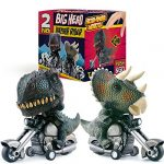 DINOBROS Dinosaur Toy Cars 2 Pack Friction Powered Motorcycle Game T-Rex and Triceratops Monster Dino Toys for Boys age 3