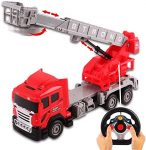 deAO Remote Control Fully Functional 6 Channel Fire Engine Truck with Steering Wheel Transmitter and Realistic Light Functions