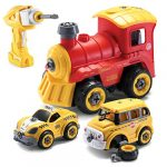 Top Race Take Apart Toys with Electric Drill | Converts to Remote Control Car | 3 in one School Bus