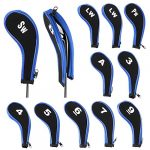 IGNPION Golf Iron Head Cover Club Heads Protector Wedge Headcovers Long Neck with Zip (Black+Blue)