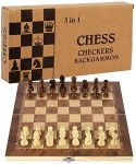 Your's Bath Folding Large Wooden Chess Set International Chess Entertainment Game Chess Set with Folding Board