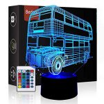 Bedoo Magic Bus 3D Led Night Lights Cool 16 Color Changing Dimmable Lighting