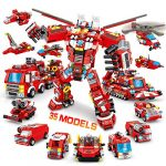 VATOS City Fire Robot Construction Set - 836 PCS Building Toys 35 in 1 Creative Fire Rescue Engine Vehicles Set STEM Educational Toys Gifts for Age 6 7 8 9 10+ Years Old Boys and Girls or Adult