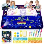 Water Doodle Mat 29pcs 2-in-1 Luminous Large Aqua Water Drawing Mat Educational & Development Reusable Painting Writing Kits Toys for 2 3 4 5 6 7 8 Years Old Kids Boys Girls Gifts (Size:48inch35inch)
